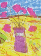 Pink vase with pink flowers - painting