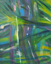 the first in a quadtych, this painting is my impression of looking into the jungle fringing the beach.