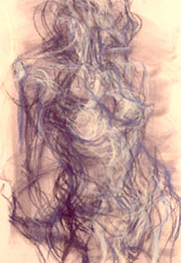 Mary Ann Runciman - charcoal and conte sketch of figure using lones in a textural manner