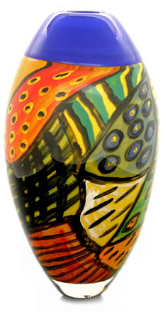 Hoglund Art Glass, back of 'Pajas' vase