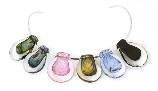 Blown glass pendant threaded on sterling silver
