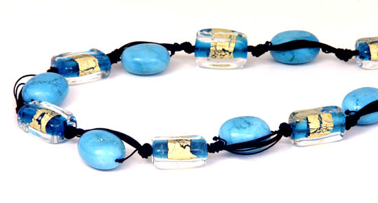 Turquoise hand made glass beads