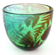 Green glass bowl - Hoglund