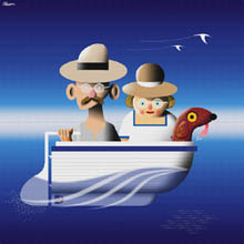 Painting of Ted, Bertha and their dog off for a day's boating in their dinghy.