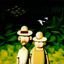 'Serendipity' - painting of Ted and bertha on their idyllic island, backdrop of jungle and parrots in flight.