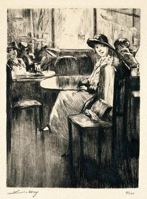 Lesser Ury, Junges madchen im cafe, etching