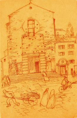 Frank Hodgkinson, Chiesa del Cromine, etching on coloured paper