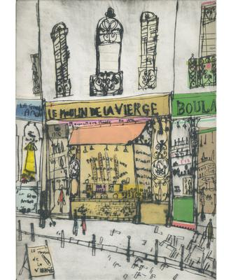 C. Caulfield,La Moulin de Vierge Paris, hand coloured drypoint with chine colle