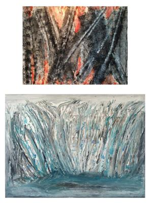 Natalie Green - Acrylics on Canvas - Burnt & Reeds on the Inlet