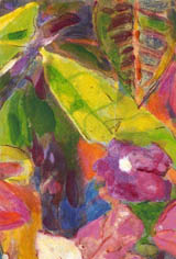 Croton leaves and tropical flowers - scarf design