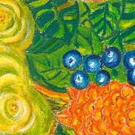 silk scarf - yellow and orange beehive gingers with  blue native ginger berries on green background