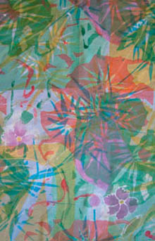 Hand printed with dyes on silk - tropical jungle design