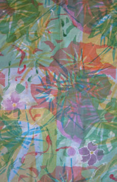 Silk cotton fabric screen printed with dyes