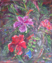 'Floral 1', vase of tropical flowers, red hibiscus and green leaves