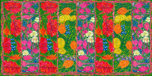 Scarf designs are combined in this large silk wrap