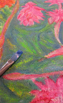 Jill Booth - ginger flowers design for silk scarves is being painted.