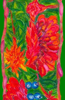 Detail of red and green flowering gingers silk scarf - design by Jill Booth