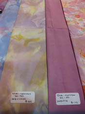 soft purples and yellows, plain soft deep pink silk/cotton
