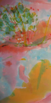 Detail from 'Beforethe Wet - orange and yellows with touch of greens and light blue