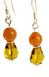 Small amber and dull orange earrings