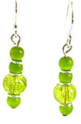 Lime green, soft green and silver drop earrings