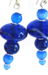 Largish glass beads in several shades of blue