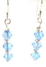 Three light blue glass beads and silver rings form this delicate pair of earrings