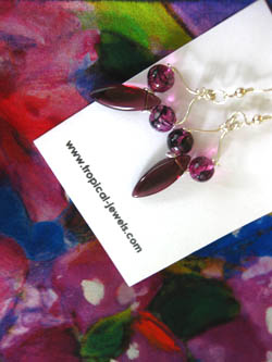 The purples in these earrings pick up the colours in the bougainvillea scarf