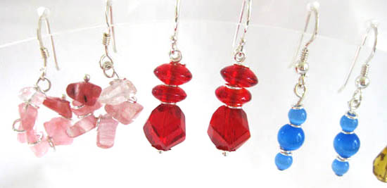 Pale pink, red and blues earrings with sterling silver rings