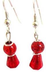 Pretty red and silver drop earrings