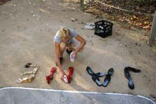 Working on 'Footprints' installation on Low Isles