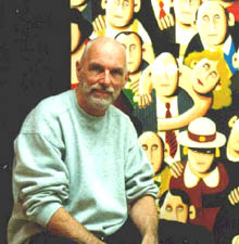 Artist, Jim Olsson, with one of his paintings