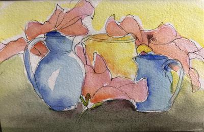 Native Hibiscus and Jugs