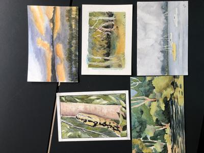Selection of painted postcards