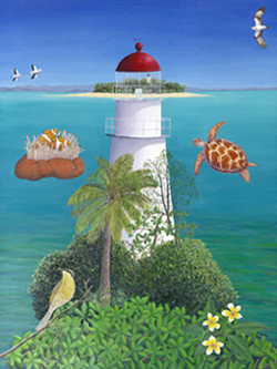 The lighthouse at Low Isles - painting by Louise Collier