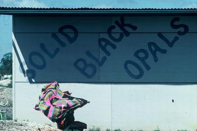 Solid Black Opal, old shack in Lightning Ridge 1981 photo Fran Moore