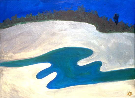 'Broome River' - blue water runs through white sands