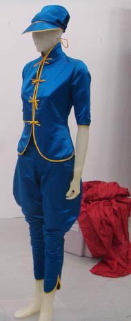 blue with  gold trim, 'jockey's' outfit