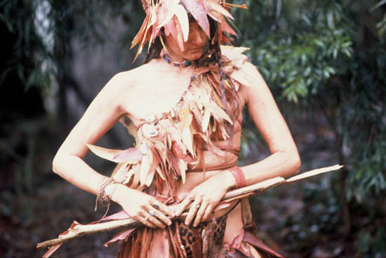 'Bush Spirit' - Linda dressed in dried gum leaves
