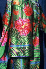 green and red waratah rainforest outfit