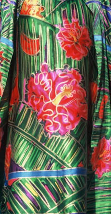 Linda jackson, length of silk with red hibiscus flowers and green leafy background, white lines