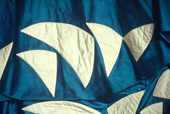 'Sydney Opera House' - white sails appliqued on blue cotton