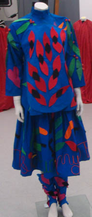 blue top and skirt appliqued with sturts desert peas design