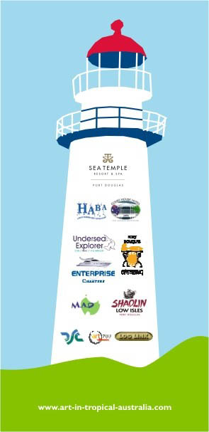 Low Isles exhibition sponsors have their logos displayed in a novel way.