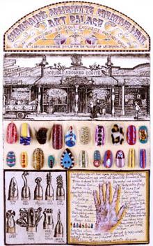 'Attention Digit Disorder - Charmaine's Nail Palace', etching with collage