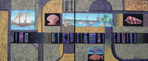 'Coastal Signs and Symbols' - painting/collage