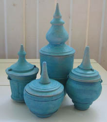 Four different sized urns - turquoise matt glaze