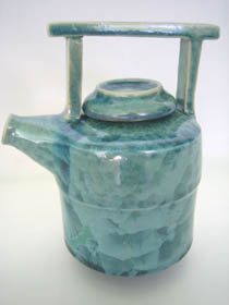 Green teapot - light green shiny glaze