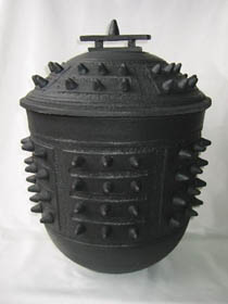 Spikes 4 - large black spikey urn