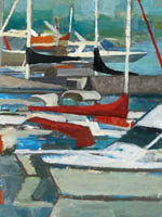 White and brightly painted boats in the marina - oil painting